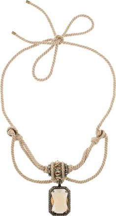 Lanvin Beige Swarovski Crystal Rope Necklace