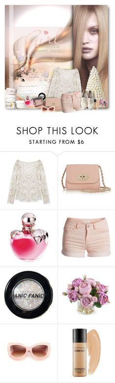 """Girl: Adorable, Sweet, Perfect"" by wildnature ❤ liked on Polyvore featuring Mulberry, Nina Ricci, Pieces, Maison Margiela, Manic Panic NYC, New Growth Designs, Wildfox, Bare Escentuals and Hourglass Cosmetics"