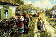 The houses of Ukraine are history. Ukrainian Dress, Ukrainian Art, Ukraine Girls, Country Paintings, Fictional World, Russian Art, My Heritage, Napoleon, All Art