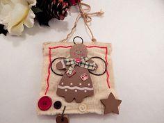 Gingerbread Girl Angel Christmas Tree Ornament Rustic Wall Hanging Holiday Decor