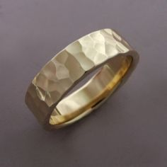 14k Gold Wedding Ring - 5 mm - Hand Hammered Recycled Gold by esdesigns