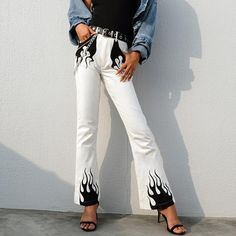 Best Price of Autumn Winter White Casual Wide Leg Pants Women Elegant High Waist Flared Trousers Fire Print Bottom Pants Capris Streetwear C. Painted Jeans, Painted Clothes, Custom Clothes, Diy Clothes, Flame Pants, Mode Inspiration, Aesthetic Clothes, Street Wear, Street Chic