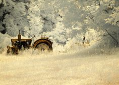 Belarus Tractor in a tall field.  Photographed in infrared by Luke Moore Photo.  Prints and greeting cards available.   #tractors #farmequipment #farming #agriculture