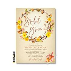 Fall Pumpkin Bridal Shower Invitation Autumn Bridal Brunch Party Invites Wreath Dinner Watercolor DIY Printable or Printed FREE SHIPPING 21 Bridal Shower Invitations, Invites, Party Invitations, Brunch Party, Candy Bar Wrappers, Fall Pumpkins, Party Time, Printable, Watercolor