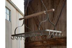 Hanging Pot Rack - From Antiquefarmhouse.com - http://www.antiquefarmhouse.com/current-sale-events/creamware/hanging-pot-rack.html