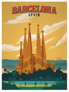 Barcelona Spain Retro Poster Also buy this artwork on wall prints apparel stickers and more. City Poster, Poster Art, Kunst Poster, Poster Design, Pin Ups Vintage, Photo Vintage, Vintage Art, Vintage Travel Posters, Vintage Postcards