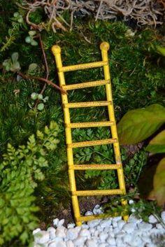 Fairy Garden Miniature Ladder Yellow