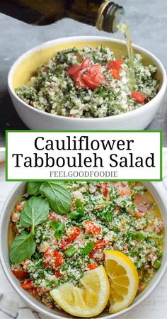 Arabic Recipes 15965 Cauliflower Tabbouleh Salad is based on the traditional Mediterranean salad recipe, but made with cauliflower rice instead of bulgur as a low carb alternative Mediterranean Salad Recipe, Easy Mediterranean Diet Recipes, Mediterranean Salmon, Cauliflower Tabbouleh, Cauliflower Recipes, Cauliflower Rice Salad, Raw Food Recipes, Low Carb Recipes, Vegetarian Recipes