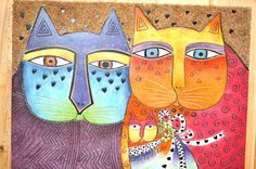 laurel burch cats | Laurel Burch Collectable Art Painting Hand Painted Brights Best Friend ...