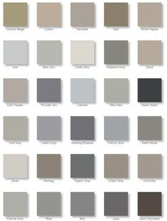 Color Place Paint Colors Chart French grey | From Autentico's The Greys & Earths colour chart. Vintage chalk paint ...