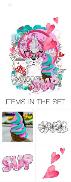 """Some Bunny Loves Ice Cream"" by theeverywheregirl ❤ liked on Polyvore featuring art, Bunny, icecream, mini and doodle"