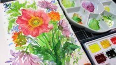 Watercolor Art Diy, Watercolor Landscape Paintings, Watercolor Flowers, Poppy, The Creator, Drawings, Frugal, Easy, Youtube