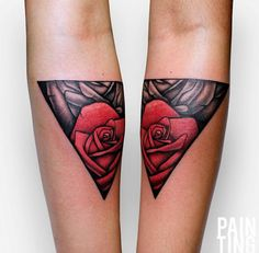 Red Rose Triangular Glyph Tattoo by Szymon Gdowicz