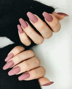 A manicure is a cosmetic elegance therapy for the finger nails and hands. A manicure could deal with just the hands, just the nails, or Classy Nail Art, Classy Gel Nails, Classy Acrylic Nails, Mauve Nails, Dusty Pink Nails, Matte Nail Colors, Nice Nail Colors, Dark Pink Nails, Pink Gel Nails