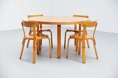 Alvar Aalto dining table set with chairs Artek 1950 Dining Chairs, Dining Table, Happy Design, Alvar Aalto, Vintage Designs, Table Settings, Dream Life, Pj, Wood