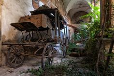 """We sneaked in an old abandoned monastery somewhere in Italy,"" Zegwaard says. ""The inner courtyard was all overgrown and had two horse-drawn hearses dating back to the late 1800's."""
