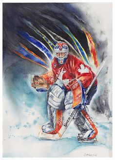 Original Watercolour of Goalie Grant Fuhr in Team Canada jersey with career team colours behind. hockeyartist.com