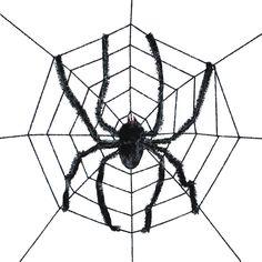 gigantic spider web with spider 8 feet diameter halloween spider decoration - Halloween Spider Decorations