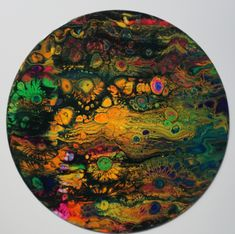 "Acrylic Pour Painting on 12"" vinyl record"