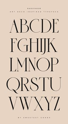 """Amazingly elegant font alphabet of """"Sauvage"""" a handcrafted serif typeface by Sweetest Goods. This art-deco inspired font looks very elegant and modern. Use it for logo design, branding, magazines, pos Design Typography, Typography Letters, Font Alphabet, Branding Design, Art Deco Typography, Alphabet Design Fonts, Letter Art Design, Art Deco Logo, Calligraphy Fonts Alphabet"""