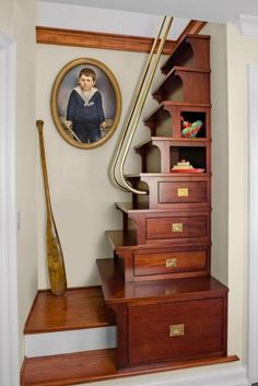 Interior Design, Original Attic Stairs Design Ideas Creative Staircase Storage Drawers — Attic stairs design ideas – pros and cons of different types Space Saving Staircase, Staircase Storage, Attic Storage, Staircase Design, Smart Storage, Stair Design, Storage Ideas, Steep Staircase, Staircase For Small Spaces