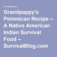 Grandpappy's Pemmican Recipe – A Native American Indian Survival Food – SurvivalBlog.com