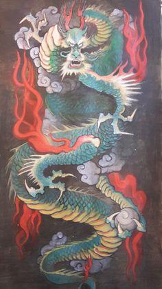 Japanese Green Dragon, acrylics on paper. Davide Scardellato
