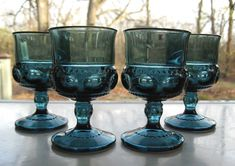 Indiana Colony Glass 4 Colonial Blue Kings Crown 4 oz Goblets #IndianaGlass