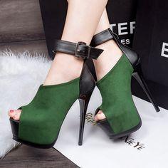 Fashion sexy high-heeled shoes platform thin heels open toe button belt tiangao single shoes female 14cm alishoppbrasil