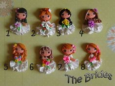 Set of  Brides Polymer Clay Charm Bead Scrapbooking Embelishment Bow Center Pendant Cupcake Topper