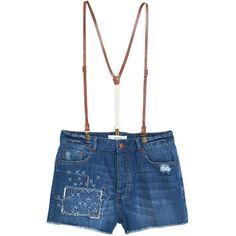 Mango High Waist Suspender Denim Shorts, Open Blue (€42) ❤ liked on Polyvore featuring shorts, denim shorts, high rise shorts, embroidered shorts, jean shorts and highwaisted shorts