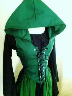 Custom Front Lace Maiden Bodice with Hood in by ChickenVicious