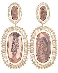Kaki Baguette Earrings in Rose Gold Drusy - Kendra Scott Jewelry