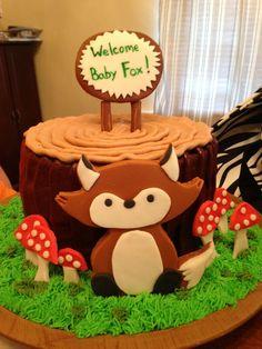 Fox baby shower cake More
