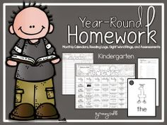 Year-Round Kindergarten Homework: Monthly Calendars, Sight Word Rings, Reading Logs, and Assessments. 146 pages.  All Assignments Aligned to Common Core and National Science Standards!