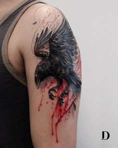 awesome raven tattoo © tattoo artist Deborah Genchi Debra Jacobs 💓💓💓💓💓 for men on chest hombre ideas for guys ideas for men for men Crow Tattoo For Men, Black Crow Tattoos, Tattoos For Guys, Dark Tattoos For Men, Crow Tattoo Design, Grey Ink Tattoos, Tattoo Designs, Tattoo Black, Dark Art Tattoo