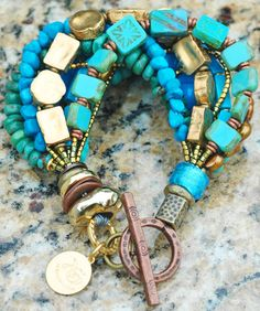 Stunning Green Amazonite, Turquoise, Chartreuse Glass and Gold Bracele | XO Gallery
