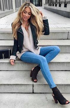 Cute Outfits Cream Blouse Black Leather Jacket Skinny Jeans