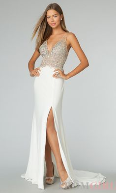 Prom Dresses, Celebrity Dresses, Sexy Evening Gowns at PromGirl: Floor Length Sleeveless V-Neck Dress #prom #dress #gown