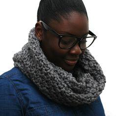 A chunky knit snood in mid grey by Urbanknit   www.urbanknit.com  #handmade #snood #cowl #knit #urbanknit #wool #merino #handknit