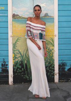 Bisou fora do ombro Maxi Dress-My Beachy Side