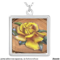 pretty yellow rose square necklace