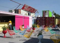 Constructed completely out of recycled containers. Includes restaurants, bars, gallery spaces, shops, and even living and gallery spaces. Situated in Cholula, 2 hours outside of Mexico City- comprised of approx 50 shipping containers, which have been stacked to create courtyards, alleys and streets. The containers were then painted bright colors and outfitted with lighting, kitchens, dining areas and more.  Truly, an attractive pop up city! Popup Republic
