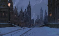 Evening in the snow, Titus Lunter on ArtStation at http://www.artstation.com/artwork/evening-in-the-snow-5e4a24ab-5f5d-45ae-834e-83141b687722