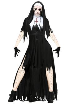 This women's tattered dreadful nun costume adds a dose of horror to a classic Halloween look.