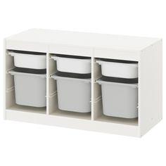 TROFAST Opbergcombinatie met bakken, wit, grijs, 99x44x56 cm - IKEA Ikea Trofast Storage, Toy Organizer Ikea, Toy Organization, Organizing Toys, Plastic Box Storage, Storage Boxes, Toy Boxes, Trofast Regal, Lineup