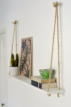 DIY Hacks for Renters - DIY Easy Rope Shelf - Easy Ways to Decorate and Fix Things on Rental Property - Decorate Walls, Cheap Ideas for Making an Apartment, Small Space or Tiny Closet Work For You - Quick Hacks and DIY Projects on A Budget - Step by Step Tutorials and Instructions for Simple Home Decor http://diyjoy.com/diy-hacks-renters #EasyHomeDécor,