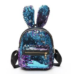 Buy Women Bling Sequins Backpack Cute Big Rabbit Ears Double Shoulder Bag  Women Mini Backpacks Children Girls Travel Bag mochila New 95dd29609fc93