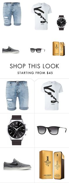 """""""Summer style"""" by graca95 ❤ liked on Polyvore featuring Topman, Kenzo, Henry London, Ray-Ban, NIKE, Paco Rabanne, men's fashion and menswear"""