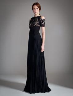 Temperley London Long Catherine Dress in Black (black/champagne)